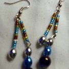Silver, Blue, & Brown Dangle Earrings