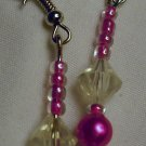Single Diamond Pink and Purple Dangle Earrings