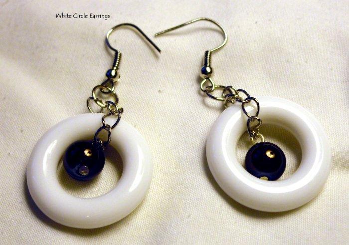 White Circle Earrings