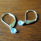White aquamarine and gold plated earrings