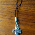 Silver cross cell phone charm with pink jewels