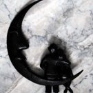 Vintage Metal Wall Hanging- Two Lovers Sitting on the Moon