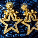 Jeweled gold angel and star earrings