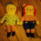 Vintage miniature Raggedy Ann and Raggedy Andy Dolls