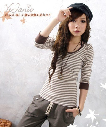 Contrast Sleeve Tee ~Choc