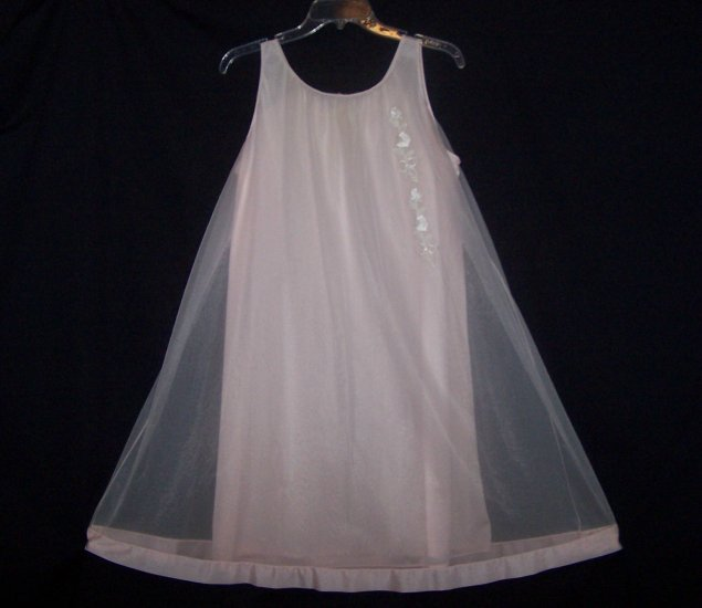 Vintage Lingerie Nightgown Penney's Gaymode Pink Sheer Chiffon
