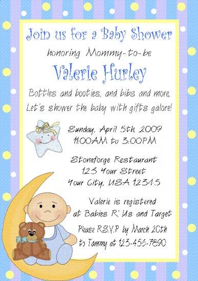 12 BABY SHOWER BOY BLUE Invitations Personalized Party Custom Babies Birthday