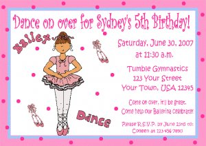 Ballet Invitations Personalized Birthday Party Custom Dance