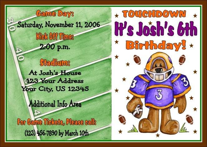 12 FOOTBALL Invitations Personalized Party Custom Birthday