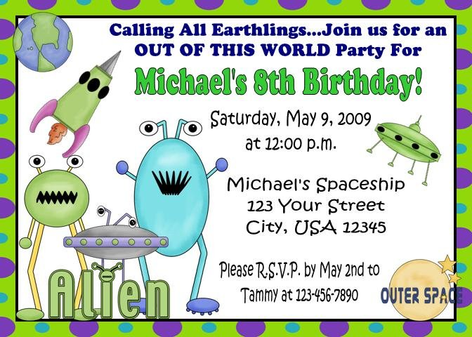 12 ALIEN OUTERSPACE SPACESHIP Invitations Personalized Party Custom Birthday
