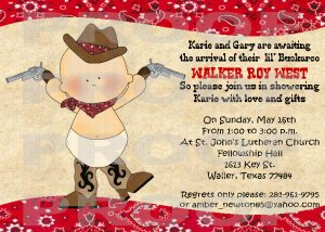 Baby Shower Cowboy Western Party Invitations Personalized  Custom