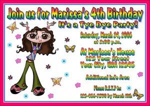 12 tie dye groovy tye dye invitations personalized party custom birthday