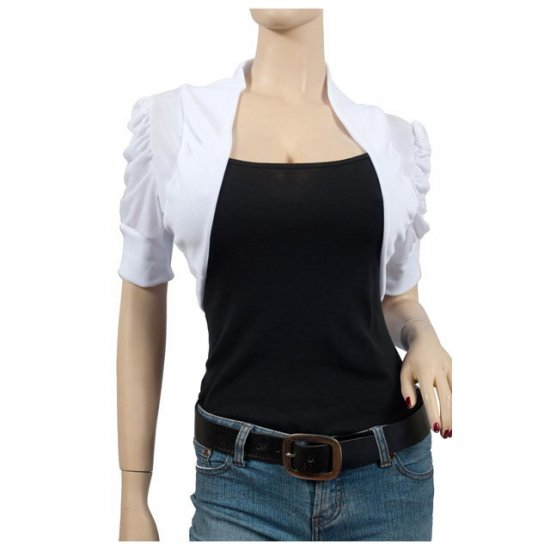 White Ruched Short Sleeve Plus Size Shrug Bolero 2X