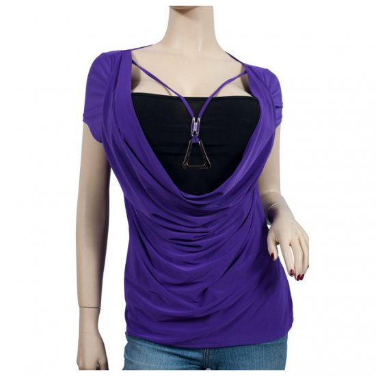 Purple Layered Necklace Accent Plus Size Top 1X