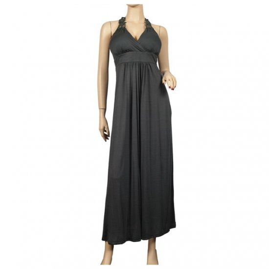 Sexy Gray Lace back Plus size Maxi dress 1X