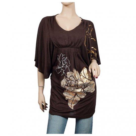 Brown Kimono sleeve Floral print Plus size top 1X