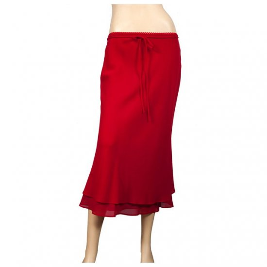Red Layered Plus size long skirt 2X