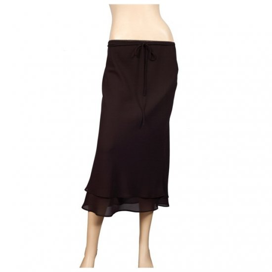 Brown Layered Plus size long skirt 2X