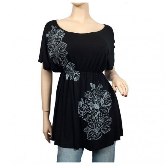 Black Floral print Wide scoop neck Plus size top 1X