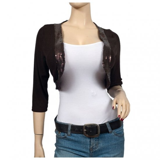 Sexy Brown Sequin Cropped Plus size shrug Bolero 2X