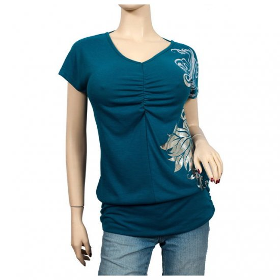 Silver floral print Green Short sleeve Plus size top 2X