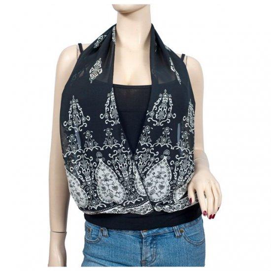 Black Layer look Designer print Plus size top 3X