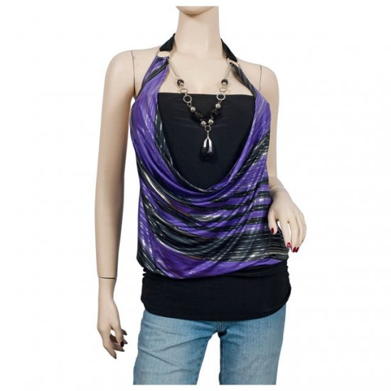 Purple Glitter print Necklace O-ring Plus size top 1X