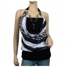 Black Glitter print Necklace O-ring Plus size top 1X