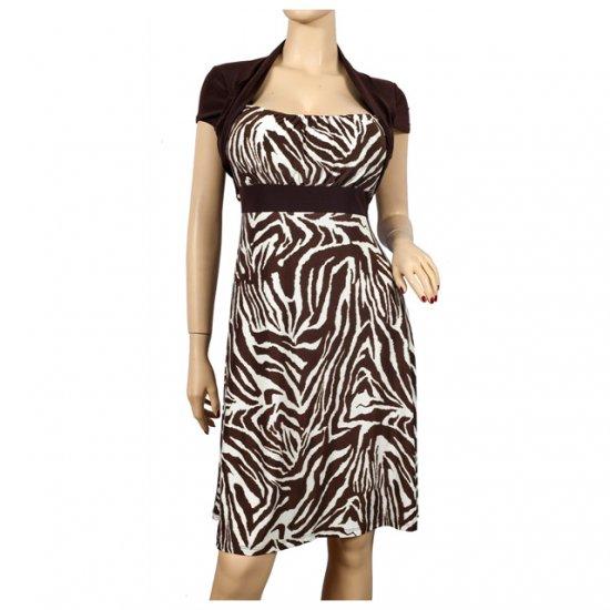 Brown Animal Print Faux Shrug Plus Size Dress 1X