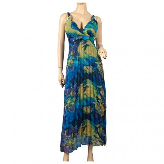 Sexy Blue Chiffon Plus Size Cruise Maxi Dress 2X