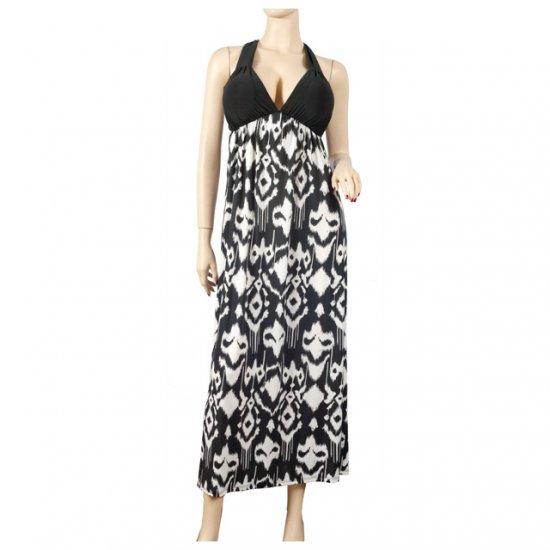 Sexy Black Low V-Neck Plus Size Maxi Cruise Dress 2X