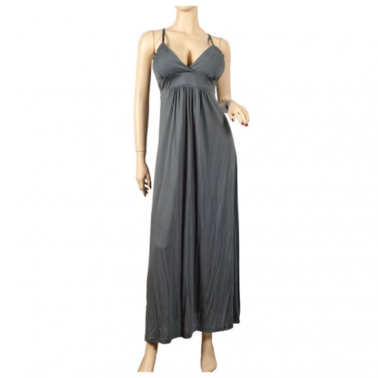 Sexy Gray Empire Waist Deep Cut Plus Size Maxi Dress 1X