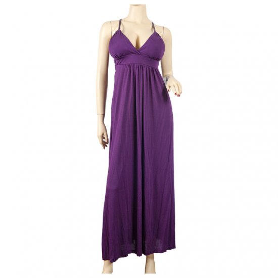 Purple Empire Waist Deep Cut Plus Size Maxi Dress 2X