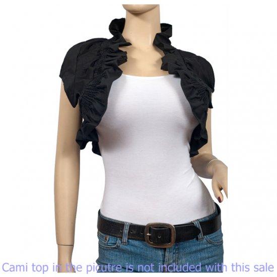 Black COTTON Ruffled Collar Plus Size Bolero Shrug 2X