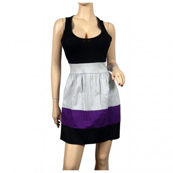 Sexy Black Purple Sleeveless Plus Size Mini Dress 1X