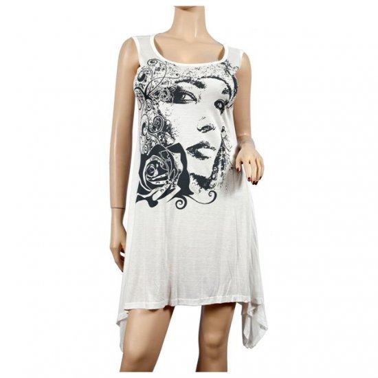 White Designer Print Asym Bottom Plus Size Tunic Top 2X