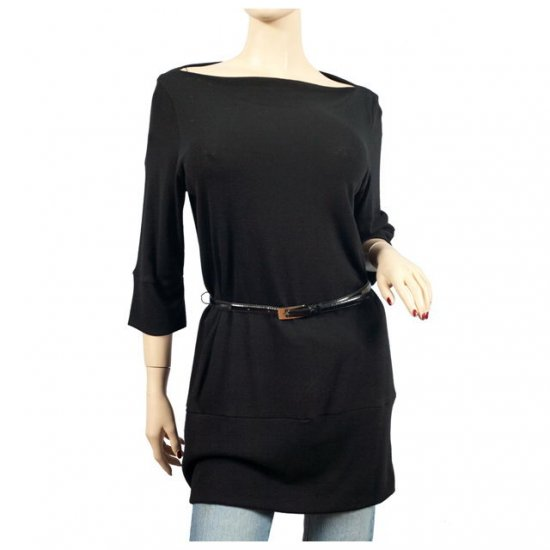 Black Wide Shoulder 3/4 Sleeve Plus Size Top 3X