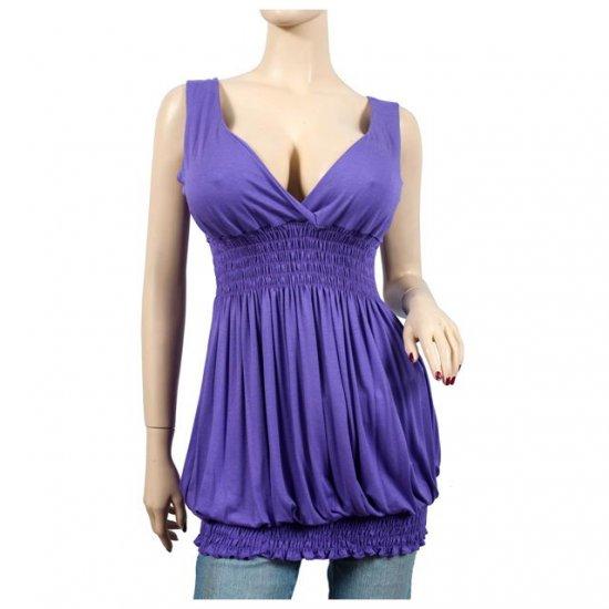 Sexy Purple Deep Cut V-neck Plus Size Tunic Top 2X