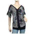 Black zebra print split shoulder plus size top 3X