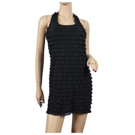 Sexy Black Ruffled Sleeveless Plus Size Mini Dress 1X