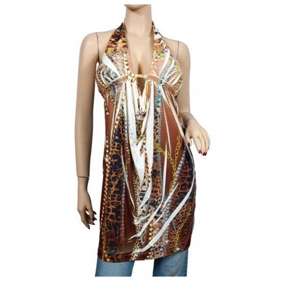 Brown designer deep cut v-neck plus size tunic top 2X