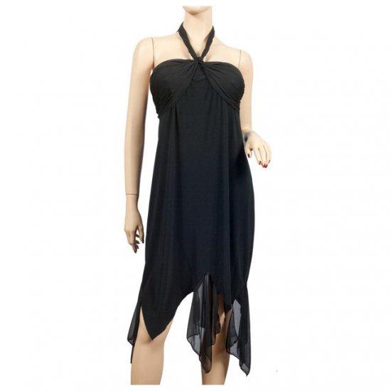 Black Chiffon Asymmetric Plus Size Halter Dress 3X