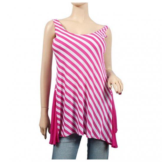 Checker Print Pink Sleeveless Plus Size Tunic Top 2X