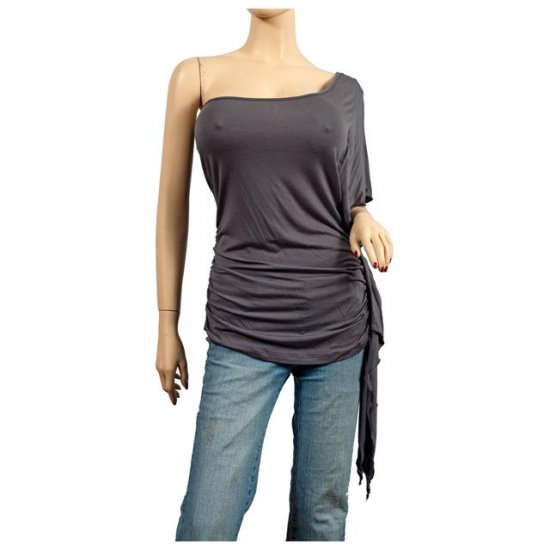 Sexy Gray One Shoulder Plus Size Tunic Top 2X