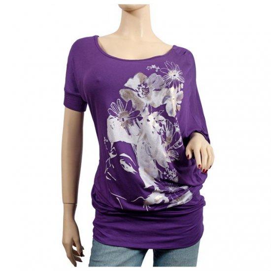 Purple Floral Print Wide Neck Plus Size Tunic Top 1X