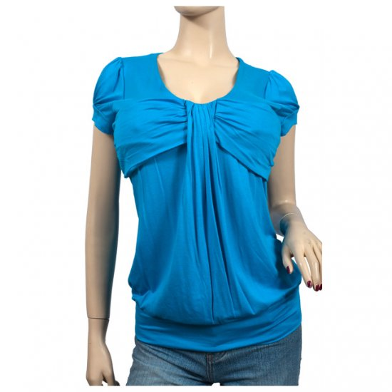 Blue Ruched Bodice Scoop Neck Plus Size 3X