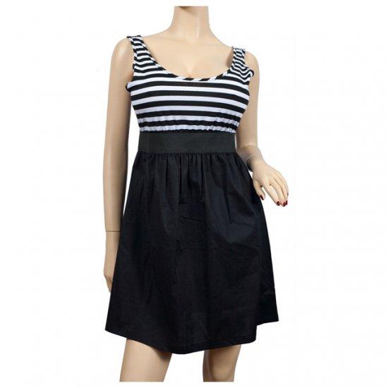 Black White Stripe Print Plus Size Mini Dress 3X