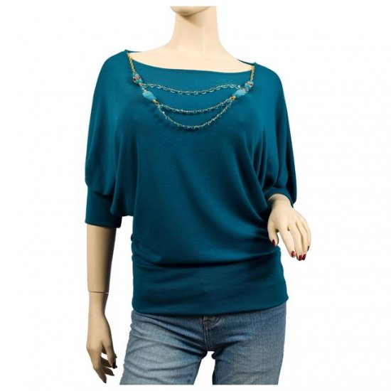 TEAL DETACHABLE NECKLACE PLUS SIZE SWEATER TOP 2X