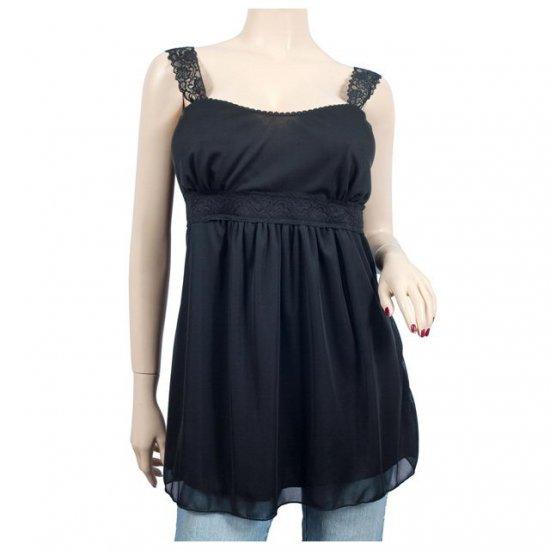 Black Lace Strap Empire Waist Plus Size Top 1X