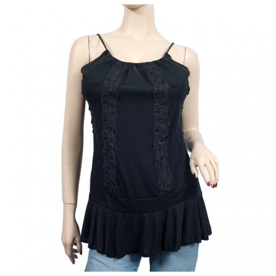 Sexy Black Lace Accent Plus Size Cami Top 3X